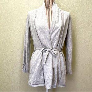 Zara Knit Wrap Tie Cardigan Heather Grey L